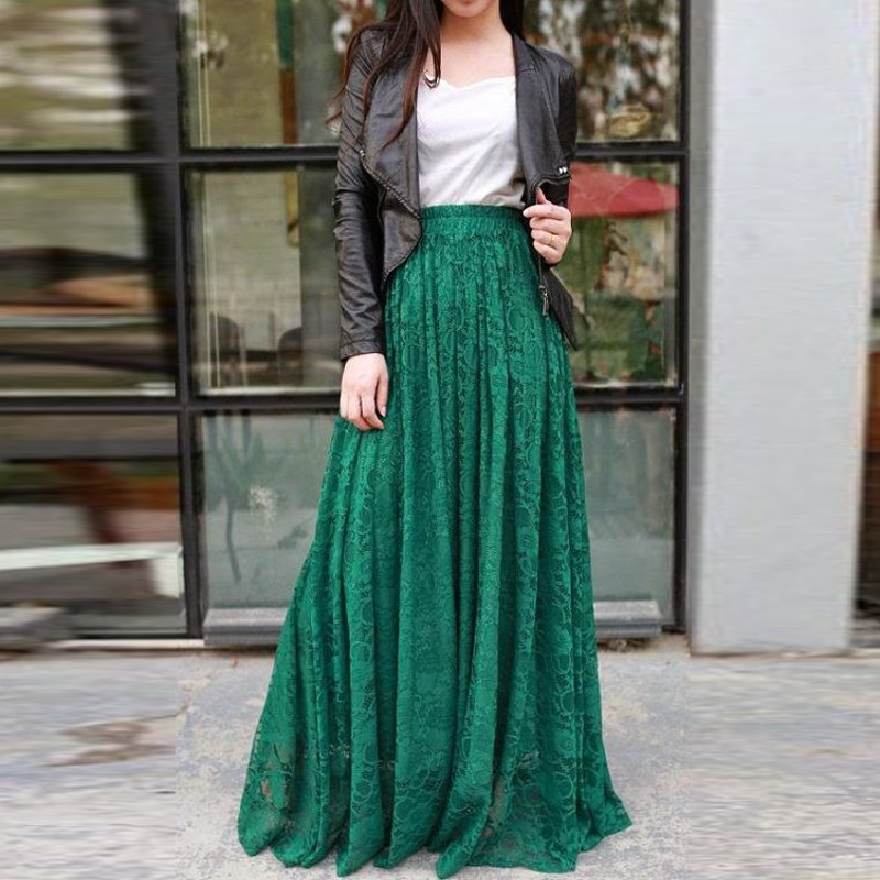 Spring Autumn Dark Green Lace Skirt Custom Made A Line Floor Length Long Maxi Skirt Exquisite Women Skirts