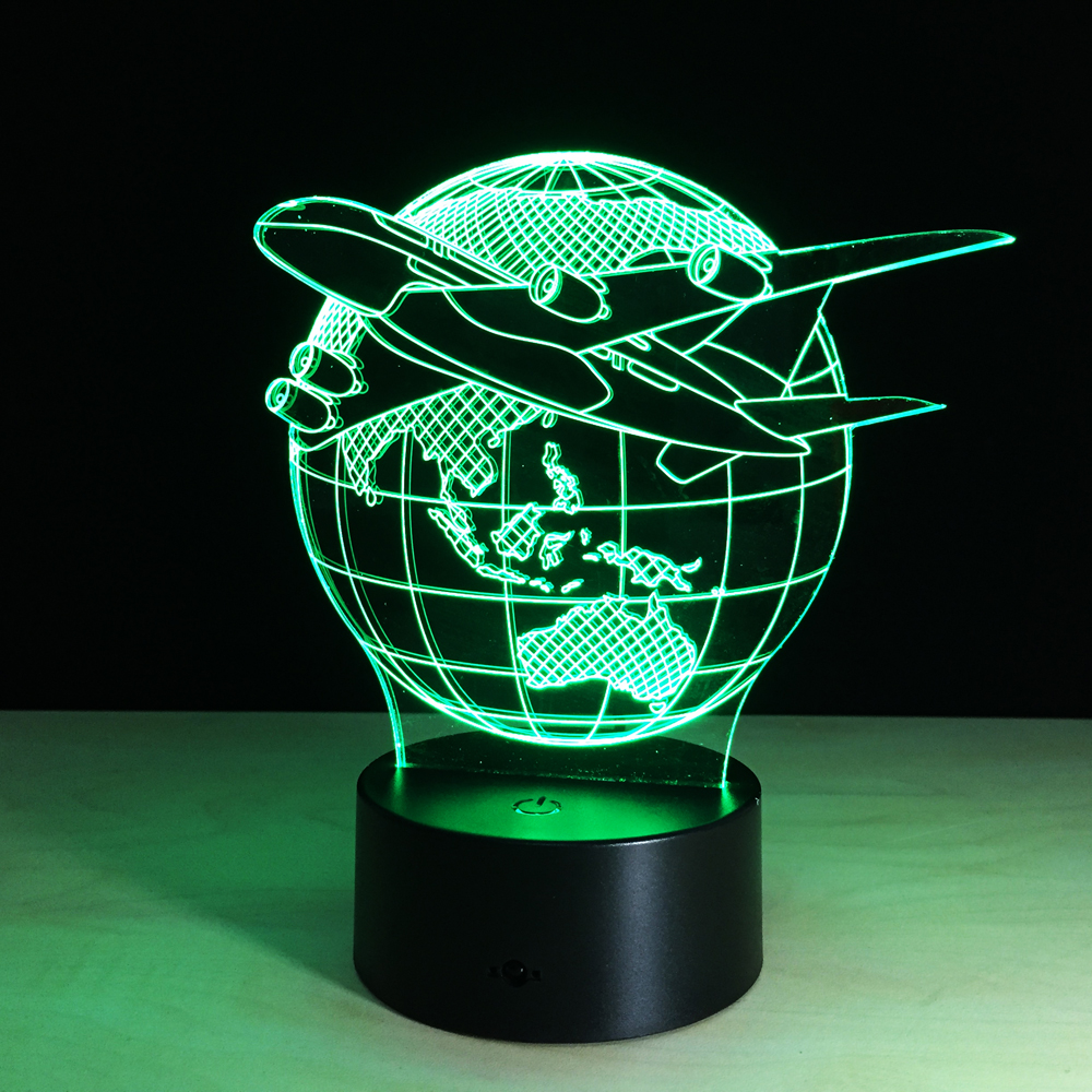 Fly the World Earth Globe Airplane 3D LED Lamp Art Sculpture Lights in Colors 3D Optical Illusion Lamp with Touch Button GX131 image