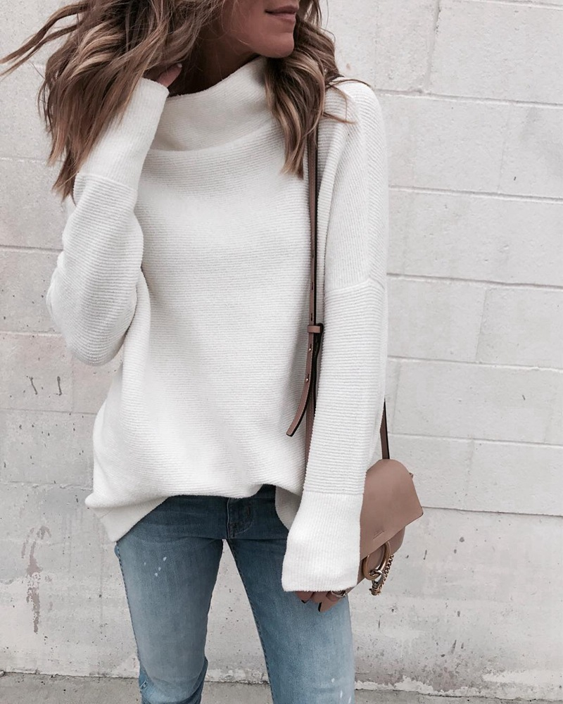 LOSSKY Long Sleeve Autumn Winter Sweater Women White Knitted Sweaters Pullover Jumper Fashion 2018 Turtleneck Sweater Female 1