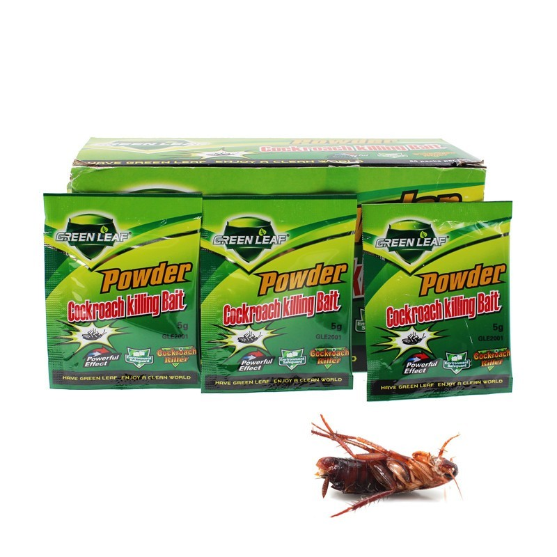 50pcs/lot Green Leaf Powder Cockroach Killing Bait Insecticide Repellent Russian Cockroaches Killer Repeller Trap Pest Control