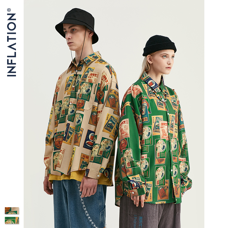 INFLATION Men Long Sleeve Shirt Digital Printing Shirt Brand Man Shirts 2019 Autumn Loose Fit Oversized Men Shirt 92151W