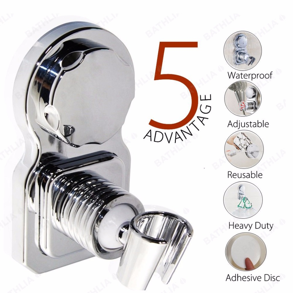 Movable Bathroom Shower Head Holder ABS Plastic Suction Absorb Shower head Holder Chrome Plated wall mounted showerhead holder
