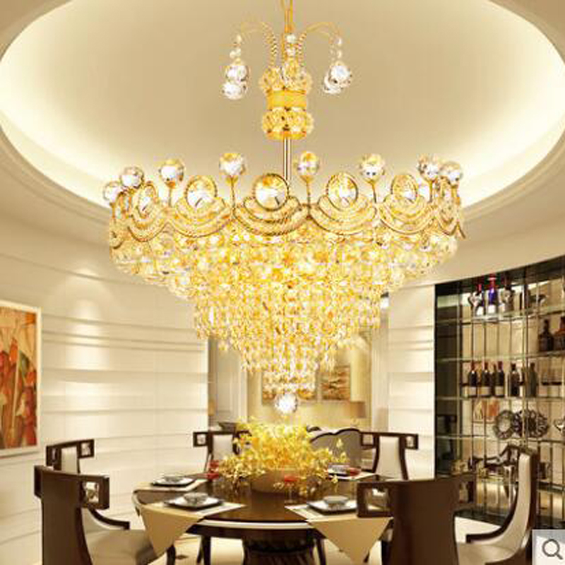 Golden European crystal chandelier dining chandelier fashion simple modern chandeliers living room bedroom restaurant lighting hghomeart chandelier european style copper chandelier living room chandelier lighting bedroom restaurant retro chandelier