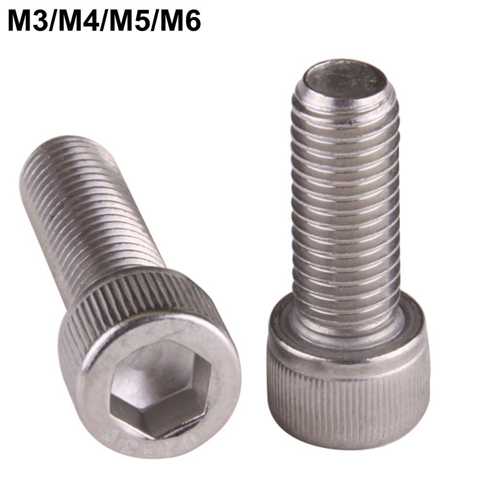 50pcs M3 M4 M5 M6 Stainless Steel Hexagon Hex Socket Head Screw, Cylinder Head Screw cnbtr 50pcs silver stainless steel flat countersunk head hex socket screw m6 x 12mm