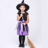 Witch Costume For Girls Halloween Witch Clothing Black Purple Witch Dress With Hat Kids Girl Witch