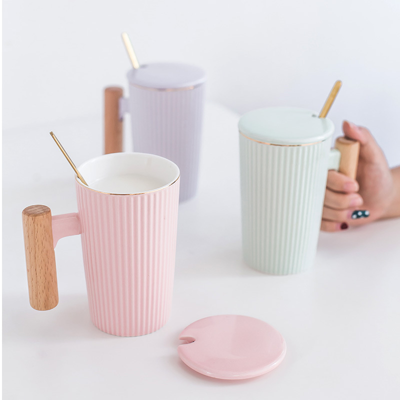 Simple gold wood handle ceramic mug with lid spoon,Office ...