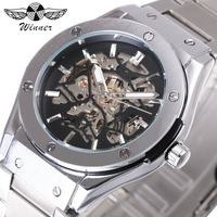 WINNER Steampunk Men Automatic Mechanical Watch 3D Bolt Design Skeleton Dial Silver Stainless Steel Strap Fashion