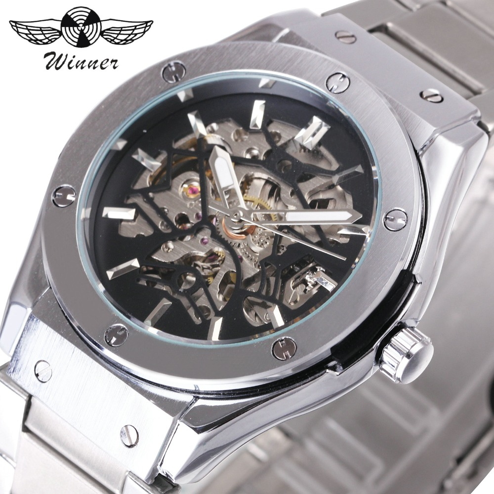 WINNER Steampunk Men Automatic Mechanical Watch 3D Bolt Design Skeleton Dial Silver Stainless Steel Strap Fashion Wrist Watches 2016 winter jacket women down coat 90% duck down slim outwear long coat plus size down parka womens winter jackets and coats