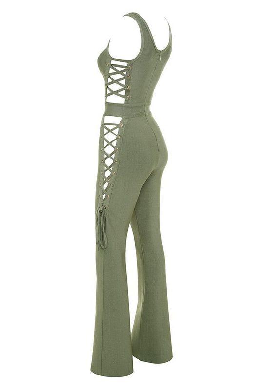 army Clair Vert Sans Manche 2017 Noir Femmes Évider Green Longueur Solide Bandage Mode Salopette Pleine Nouveau 018x6