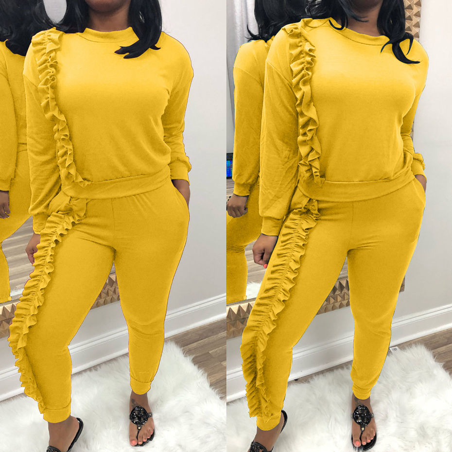 2 Piece Set Women Tracksuit Sportswear Outfits Autumn Ruched Ruffle Tops And Long Pant Sweat Suits Casual Two Set Woman Clothing