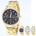 2017 Fashion Mens Watches Gold Steel Analog Quartz Wristwatch White Black Gold Dial relogio masculino Luxury Business Hot Clock
