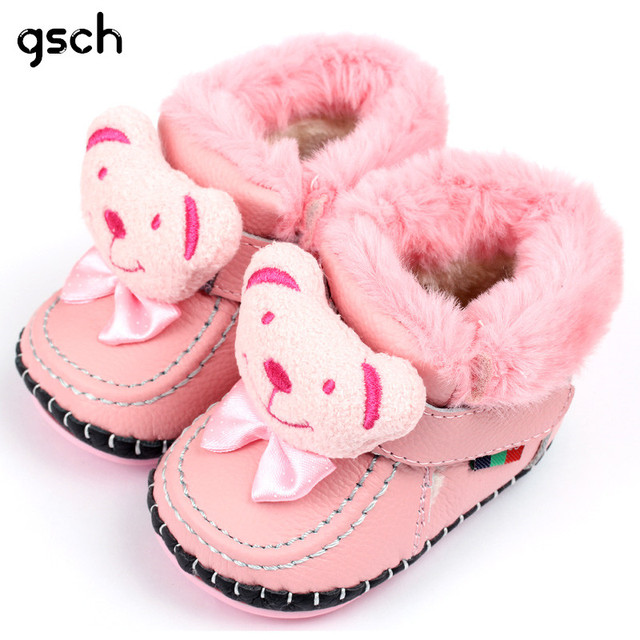 GSCH Leather Baby Boots Winter Bear Warm Ankle Girl Snow Boots Soft Rabbit Fur Boy Baby Moccasins Infant Shoes Kids First Walker