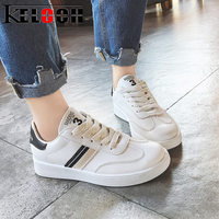 Keloch High Quality White Casual Shoes Women Student Classic White Flats Shoes Women Sneakers PU Leather