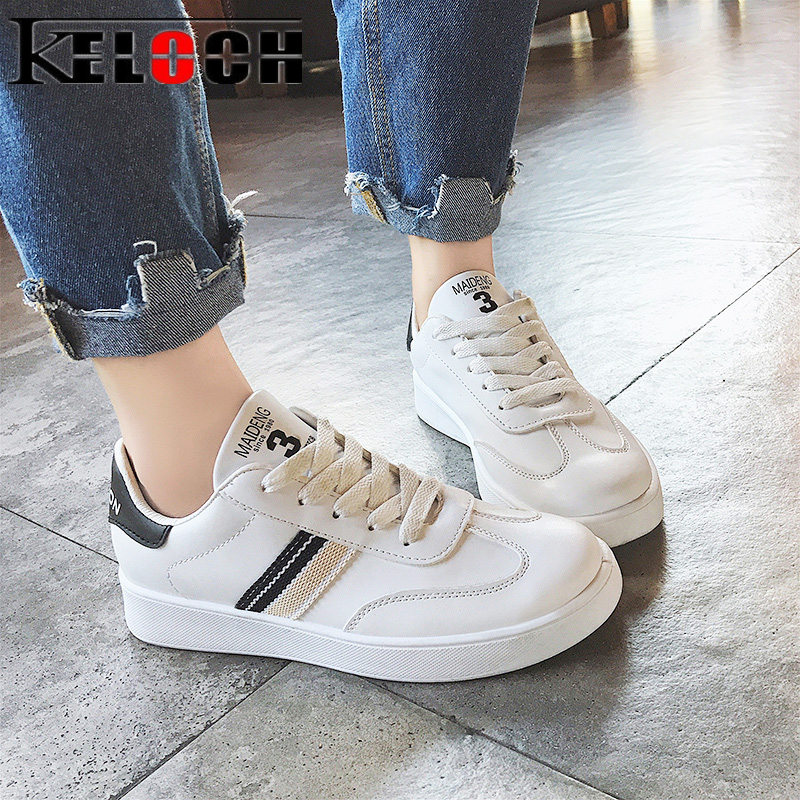 Keloch High Quality White Casual Shoes Women Student Classic White Flats Shoes Women Sneakers PU Leather Female Zapatos Mujer