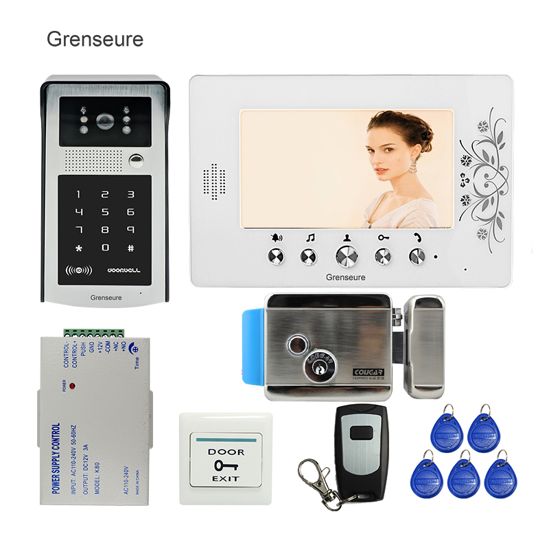 FREE SHIPPING 7 TFT Screen Video Door Phone Intercom System + Waterproof RFID Code Keypad Door Camera + Electric Lock + Remote free shipping 7 lcd video door phone intercom system 2 screens rfid access code keypad password camera electric control lock