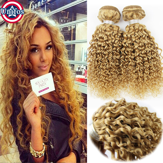 Brazilian Blonde Curly Virgin Hair 4 Bundles Blonde Human Hair
