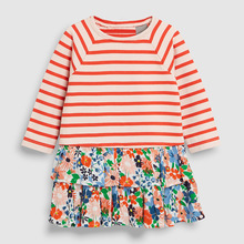 Little maven kids girls fashion brand autumn baby clothes orange striped dress Cotton toddler girl print dresses S0508