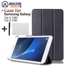 Folio pu cubierta de cuero de case case cubierta magnética para 2016 nuevo case para samsung galaxy tab a 7.0 t280 t285 + regalo libre(China (Mainland))