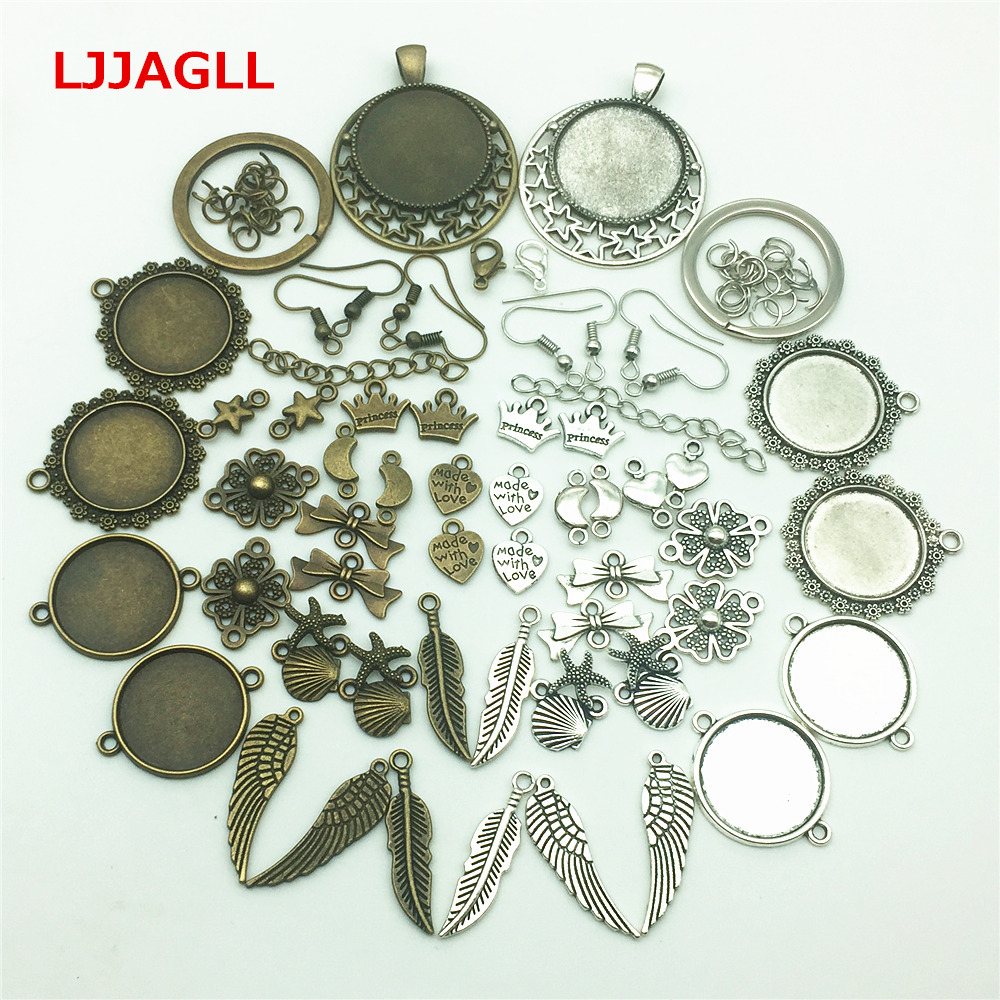 LJJAGLL Mix Charms 100pcs Zinc Alloy Jewlery Findings Stars Feather Bracelets Cameo Base Keychain Earrings Diy Components AZH004