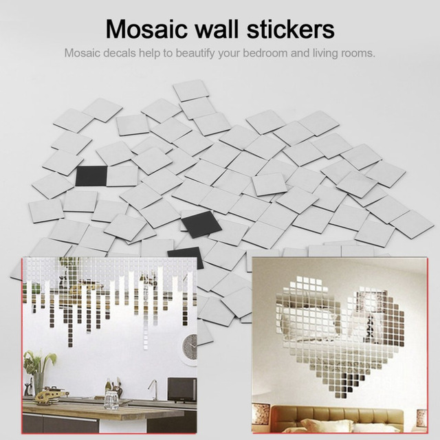 100 Piece Self-adhesive Tile 3D Mirror Wall Stickers Decal Mosaic Room Decorations