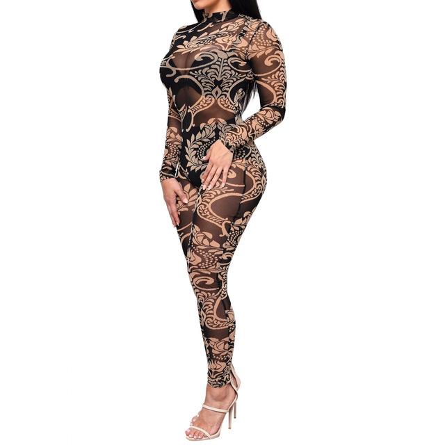 Nicki Minaj Sexy Vintage Bodycon Jumpsuit Patchwork Bodysuit for Women Party Romper Chain Print Prom Playsuit Club Jumpsuits