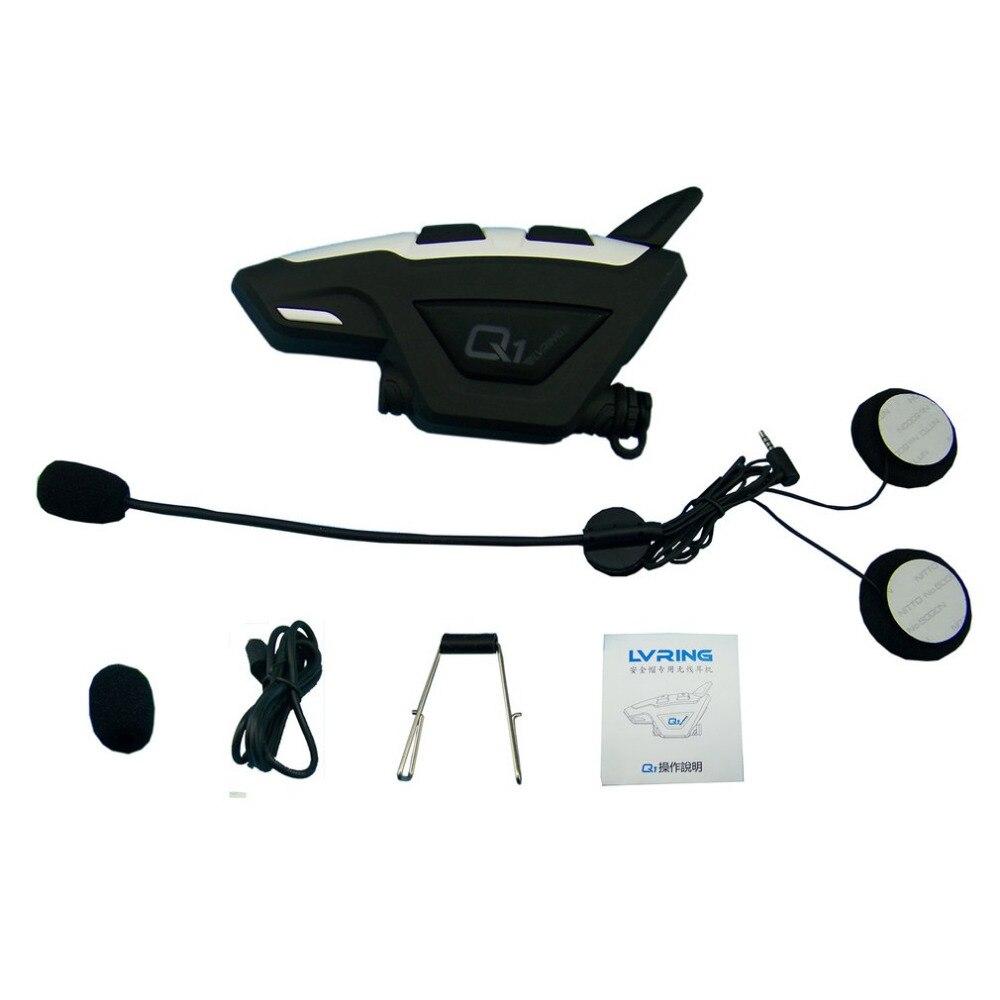 Q1 1 pc Moto Casque Bluetooth Casque Sans Fil Interphone BT Sans Fil Intercomunicador Interphone Casque MP3