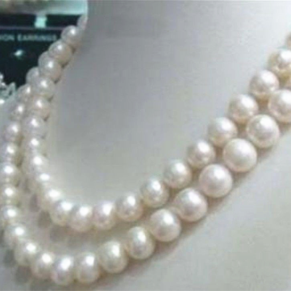 8-9mm natural cultured white Akoya pearl round beads necklace 30inch long chain jewelry making for weddings party gifts YE2079