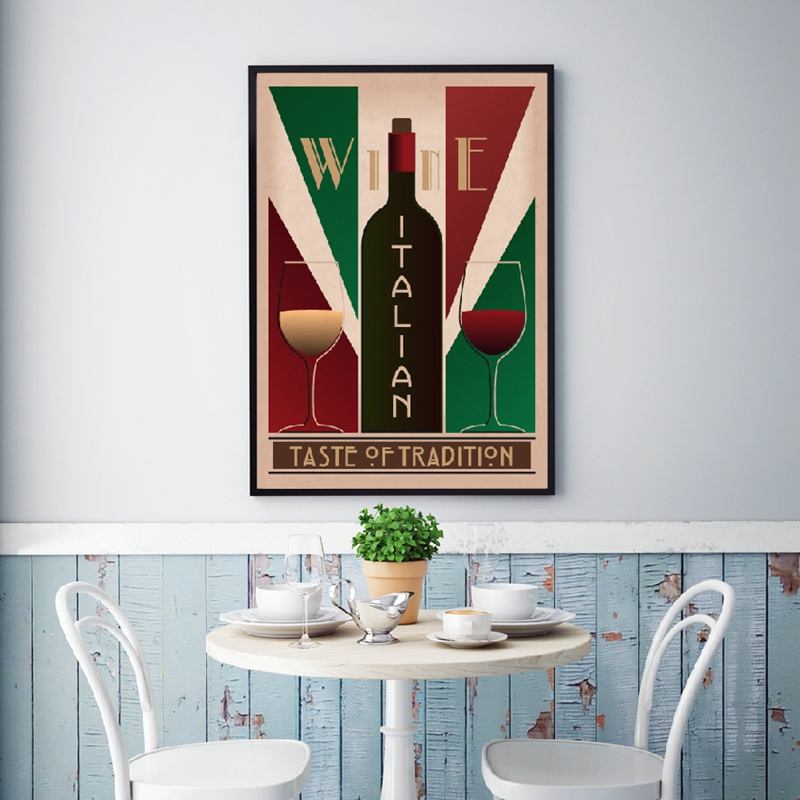 VINTAGE WINE GLASS CHART PRINT Poster Pub Bar Restaurant Decor Wall Picture Sign