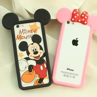 NEW!!cartoon anime mickey silicone bumper protector frame shell phone case cover iphone 4 4s 5 5s - Blues electronics store