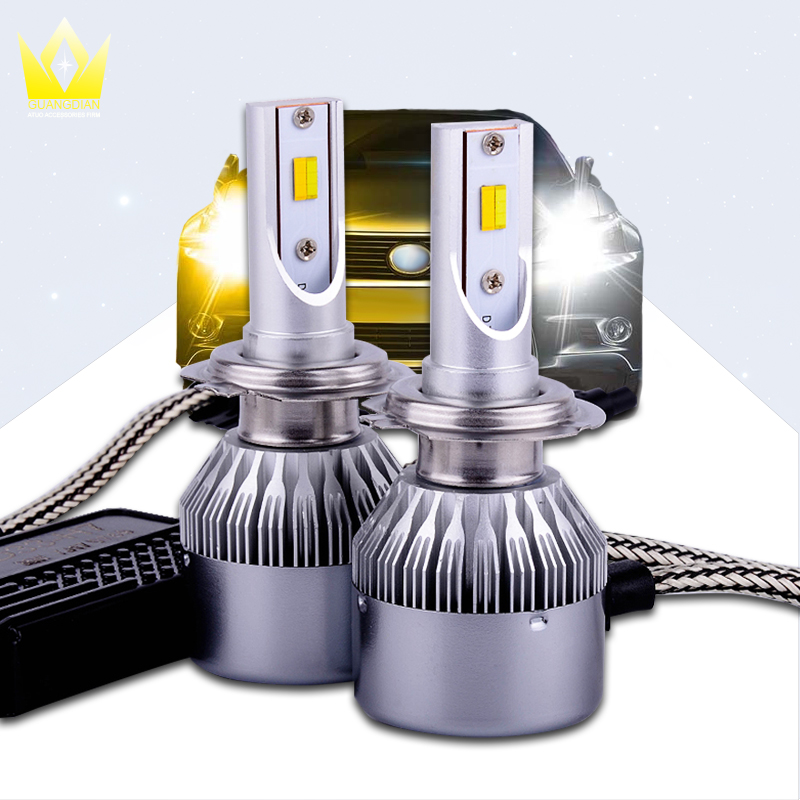 1 Set Auto LED Headlight D33 H7 Bulbs Hi-Lo Beam White Headlamp 36W 3800LM 6000K With Yellow Fog Lamp For Toyota Camry 2010 2011 tc x upgrade led car headlight bulb kit h7 80w set h4 hi lo head lamp fog light kit h11 hb3 hb4 led auto front bulbs wholesale
