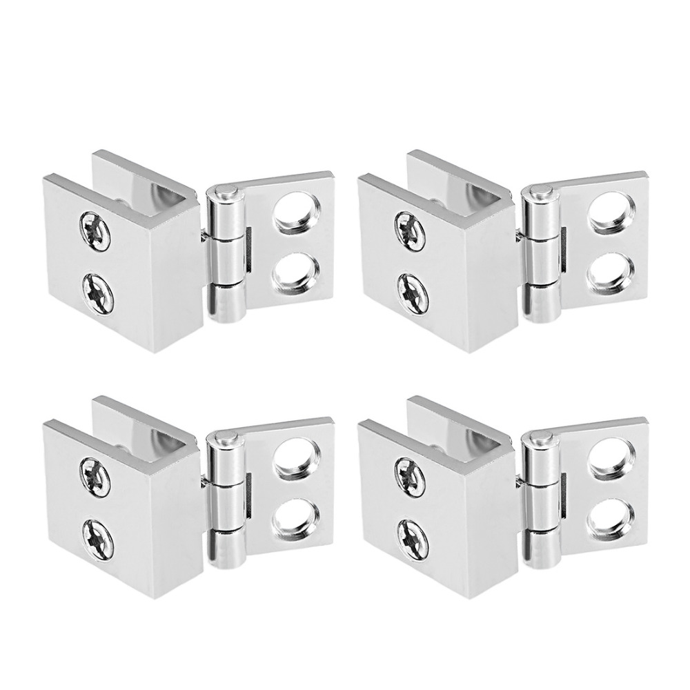 Uxcell New 4pcs For 5-8mm Thickness Glass Door Hinge Zinc Alloy Glass Clamp 0 Degree Glass Cupboard Showcase Cabinet Door Hinge