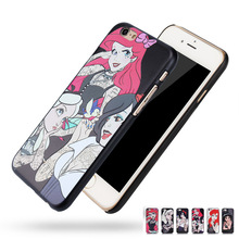 For iphone 4/4S/5/5S/6/6+ Tattooed Princess Alice in Wonderland Ariel Jasmine Cinderella Tattoo Style Hard Plastic Case Cover