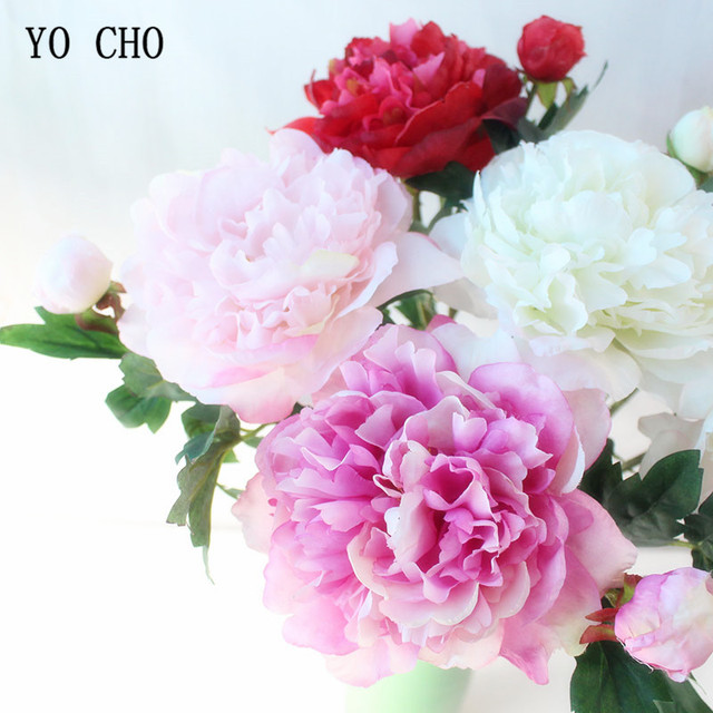 Yo Cho 2 Heads Peonies Artificial Flowers Silk Bouquet Fake Home Decor White