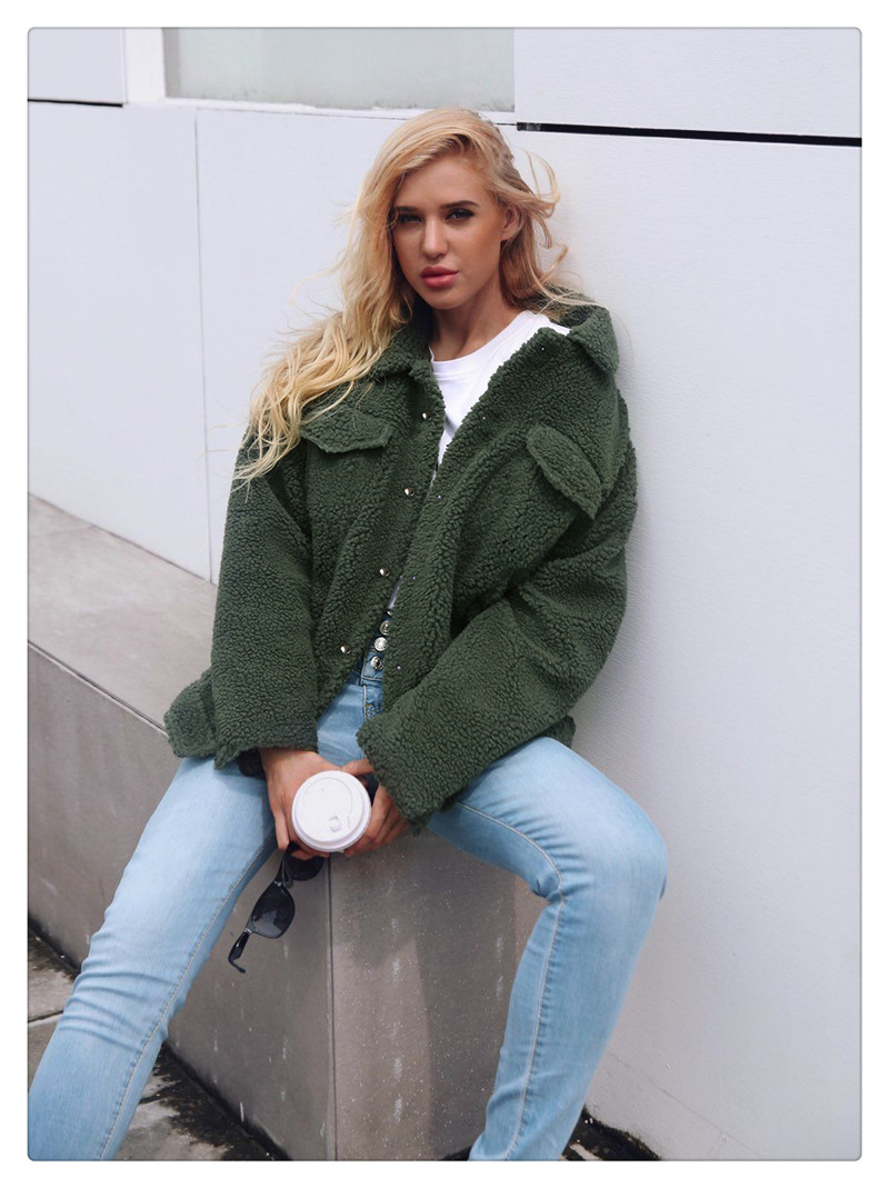Spot Europe and the United States autumn and winter new style imitation fur foreign trade women plush coat leisure coat women (7)