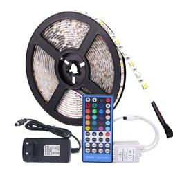 5050 RGB شريط إضاءة مقاوم للماء تيار مستمر 12 فولت 5 متر RGBW RGBWW مصباح بشرائط led مرنة مع 3A الطاقة والتحكم عن بعد