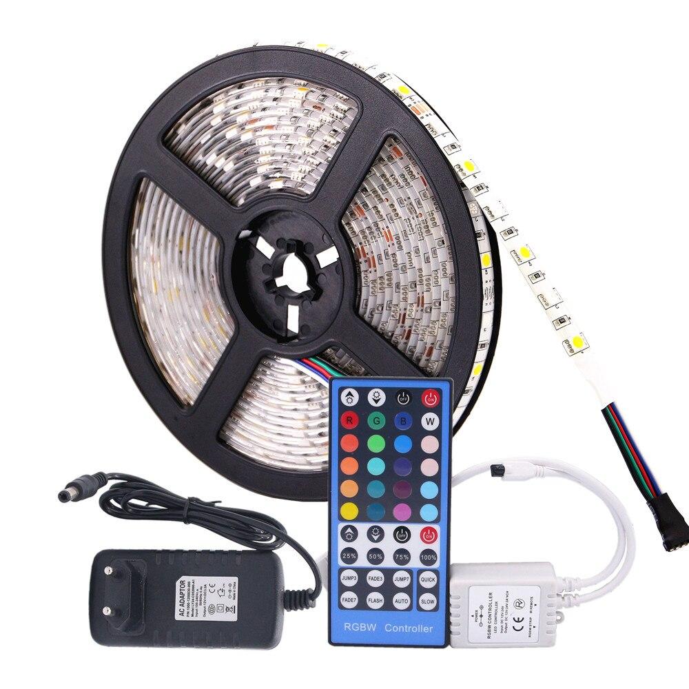 5050 RGB HA CONDOTTO La Striscia Impermeabile di CC 12 V 5 M RGBW RGBWW LED Strisce di Luce Flessibile con 3A di Alimentazione e a distanza di Controllo