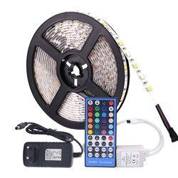 5050 rgb tira conduzida impermeável dc 12 v 5 m rgbw rgbww tiras led luz flexível com alimentação 3a e controle remoto