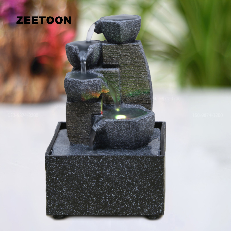 110V 220V Modern Water Fountain LED Waterfall Micro Landscape Desktop Feng Shui Lucky Living Room Office Creative Home Decor