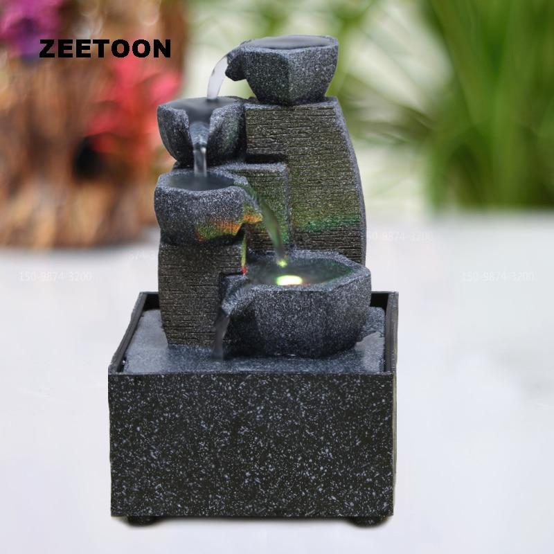 110V 220V Modern Water Fountain LED Waterfall Micro Landscape Desktop Feng Shui Lucky Living Room Office Creative Home Decor