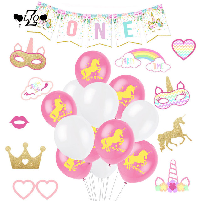 ZLJQ 31pc Unicorn Theme 1st First Birthday One Banner Latex Balloon Photo Booth Props For Baby