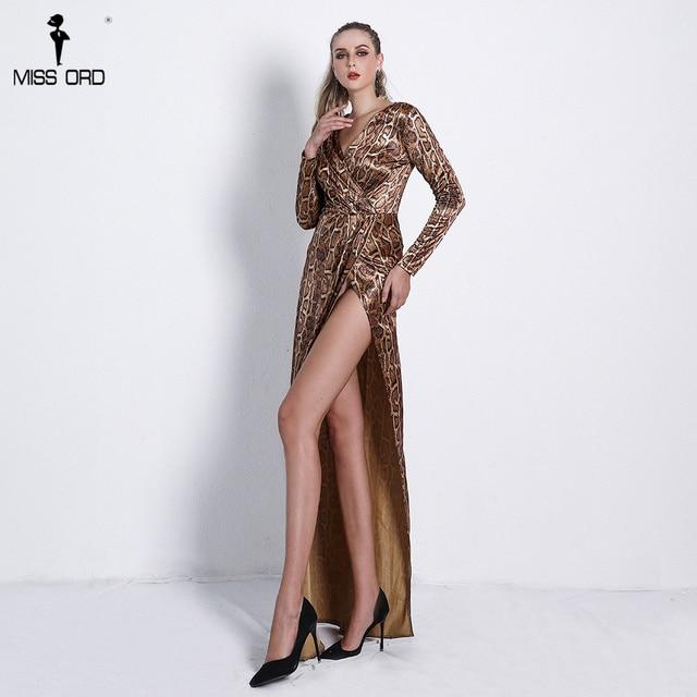 528fae5ade49 Missord 2019 Sexy Deep V Long Sleeve Snake Print Dresses Female High Split  Maxi Elegant Dress
