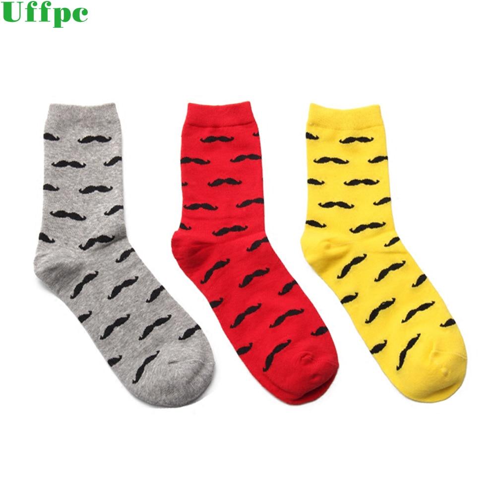 5 Pairs/Lot Men Socks Casual Pure Cotton Beard Pattern Tube Socks Men Fashion Solid Color Funny Happy Socks 2018 New