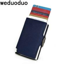 2018 Uued mehed krediitkaardi omanik Mood PU nahast metallkaardi hoidik RFID kaardi puhul Automaatne raha sularaha klipp Mini rahakott