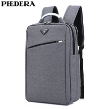 PHEDERA New Male Business Backpack Korean Style High Quality Canvas Men Computer Rucksack Gray Black Coffee Mens Shoulder Bags