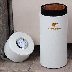 COHIBA pot Portable en bois de cèdre | Tube doublé en bois de cèdre, Mini humidificateur de voyage à l'intérieur avec Long humidificateur, hygromètre