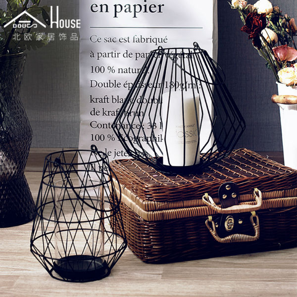 ADOUS The Nordic minimalist art creative flower vase lantern iron candlestick Home Furnishing living room decoration