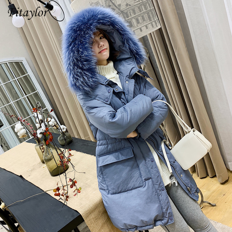 Fitaylor Winter 90% Duck   Down     Coat   Women Thick Warm Hooded Parkas Large Raccoon Fur Snow Outerwear Loose OverCoat
