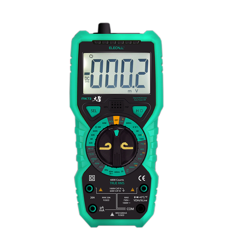 High Precision True RMS Digital Multimeter Handheld Multimeter Mannual Range with LCD Backlight MK72 excel dt9205a 3 lcd digital multimeter black orange 1 x 6f22