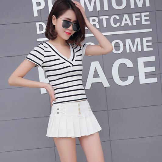 38eaac8ba4f0 Black White Pencil Pleated Micro Mini Skirt Women 2019 summer ...