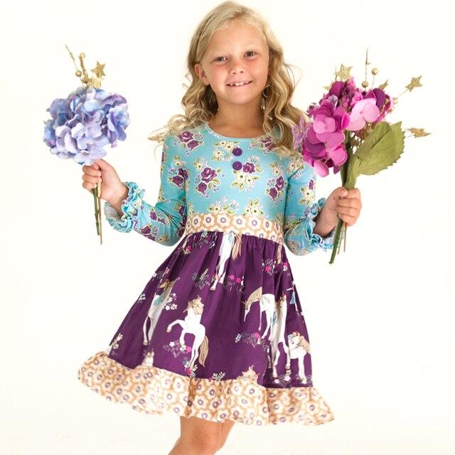Wholesale High quality children clothing set remake boutique unicorn design  kids dress a88c549190